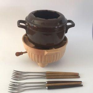 Vintage Staub Cast Iron fondue set, made in France